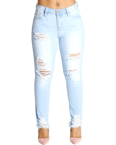 OLIVIA RIPPED MID RISE JEANS