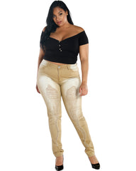 VIM VIXEN Lexie Ripped Jean - Wheat - ShopVimVixen.com