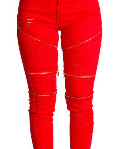 GANITA RIPPED AND ZIPPER JEANS