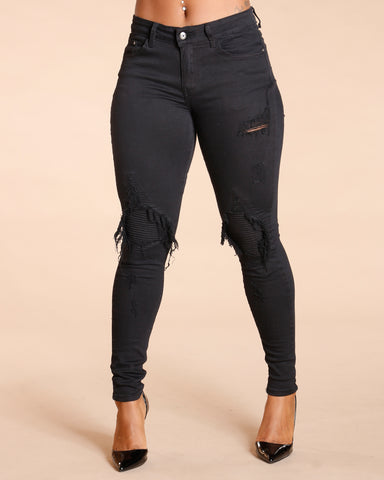 QUILTED MOTO JEANS - BLACK