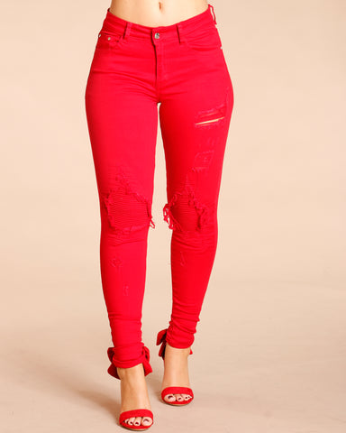 Quilted Motto Jeans - Red