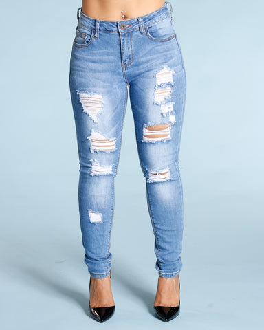 Ripped And Cuffed Jeans - Medium Blue