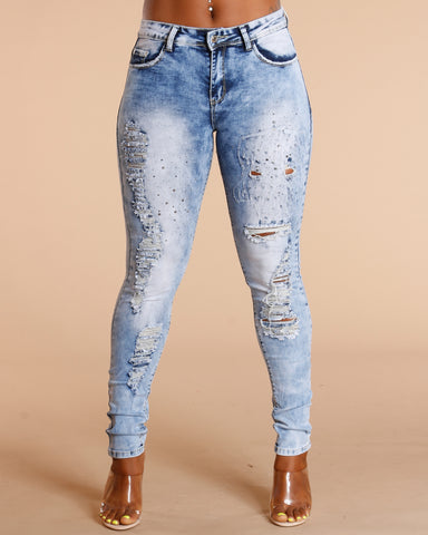 Light Blue All Over Rips And Studs Jeans