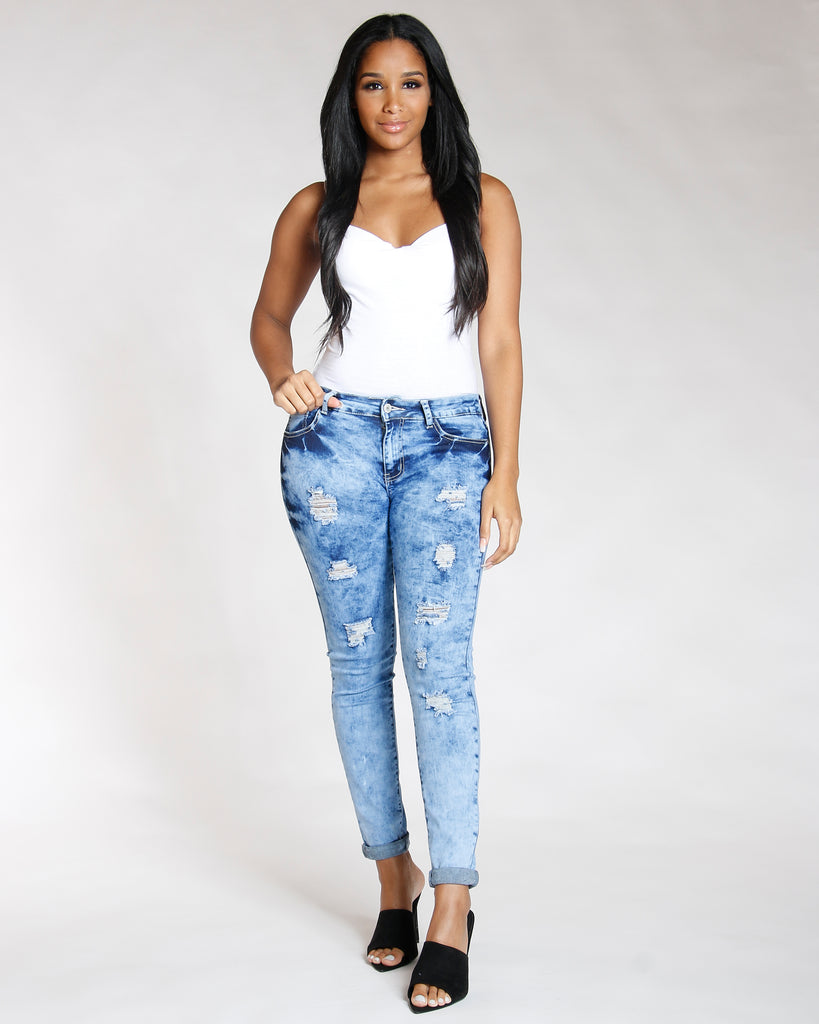 REMY MA BY VIM VIXEN Ripped Blue Jean - Light Denim - ShopVimVixen.com