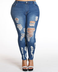 All Over Ripped Jean - Dark Blue