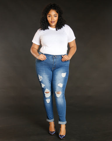 Women's Ripped And Cuffed Jeans - Vim Vixen - Remy Ma