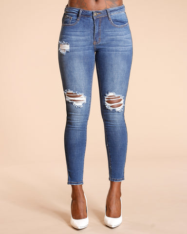 CAMOUFLAGE SIDE STRIPE RIPPED JEANS - MEDIUM BLUE
