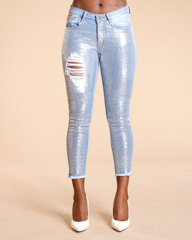 Silver Sequins Ripped Jeans - Light Blue