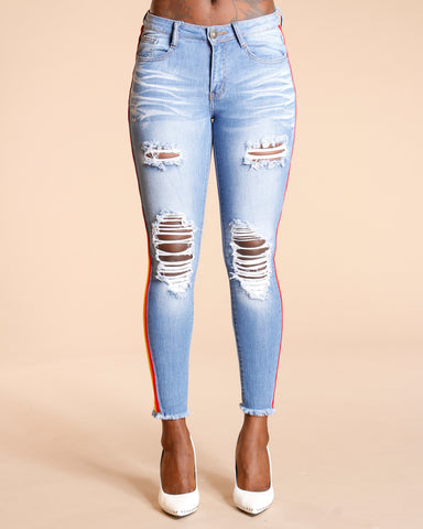 RAINBOW SIDE STRIPE RIPPED JEANS