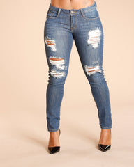 RIPPED CHECKER SIDE TAPING JEANS - MEDIUM BLUE