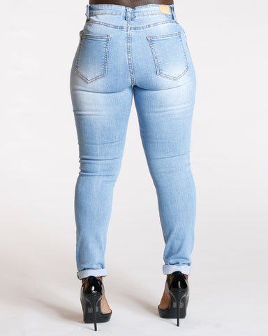 ALL OVER RIPPED JEANS - LIGHT BLUE