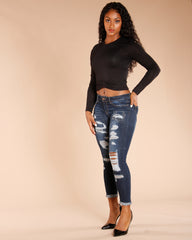 Ripped And Cuffed Jeans - Dark Blue