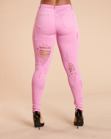 RIPPED FRONT AND BACK JEANS - PINK