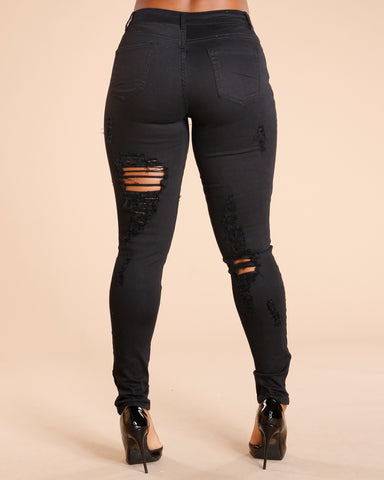 RIPPED FRONT AND BACK JEANS - BLACK