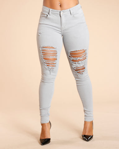 RIPPED FRONT AND BACK JEANS - GREY
