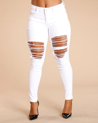 RIPPED FRONT AND BACK JEANS - WHITE