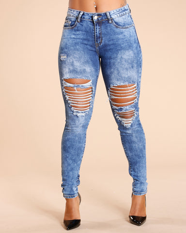 RIPPED FRONT AND BACK JEANS - BLUE