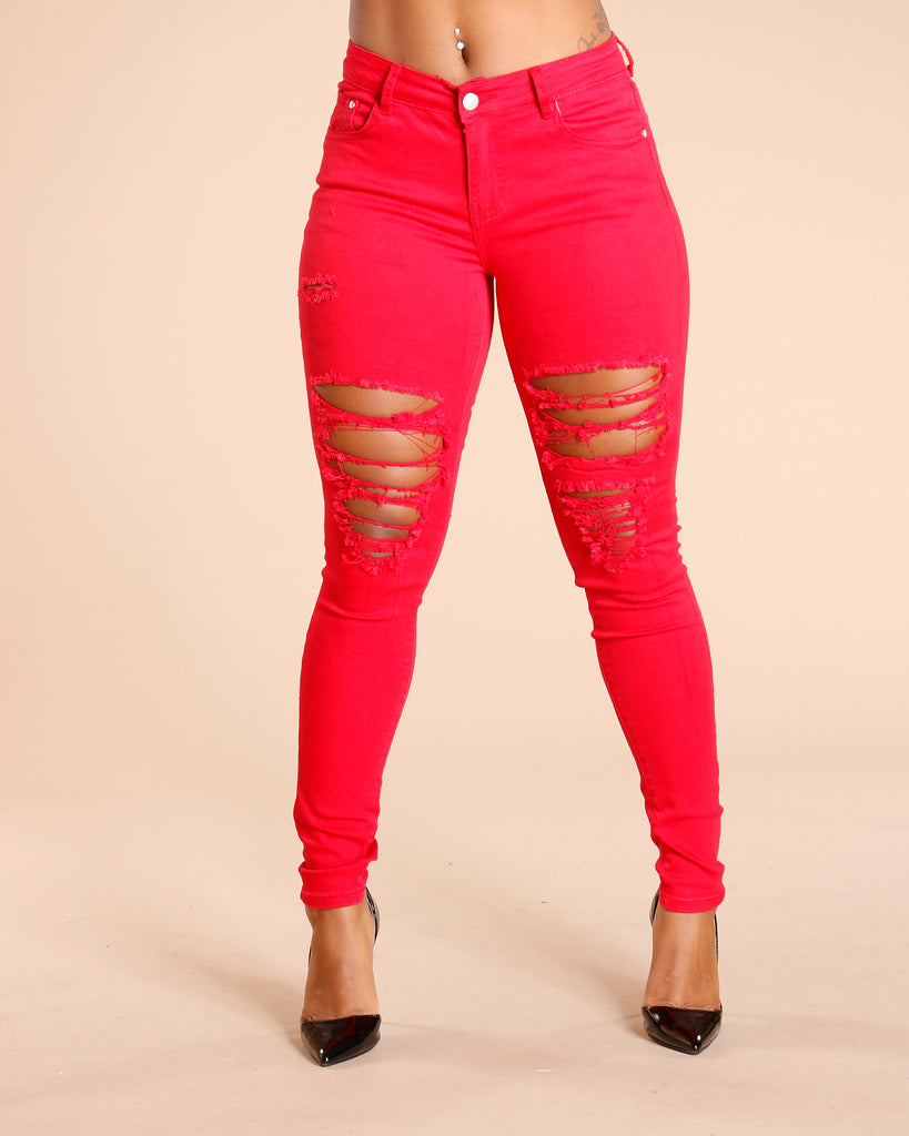 Ripped Front And Back Jeans - Red