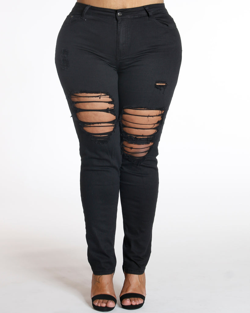 Black Ripped Front Jean