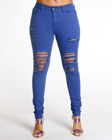 Zion Royal Ripped Front Jean
