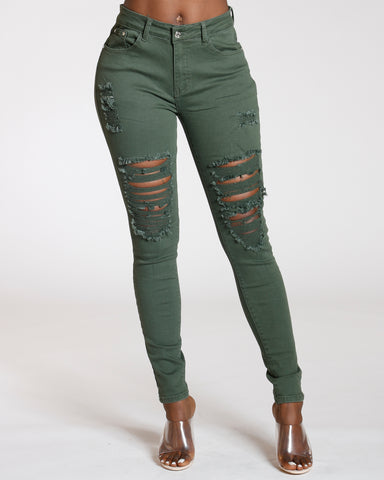 Lovina Olive Ripped Front Jean