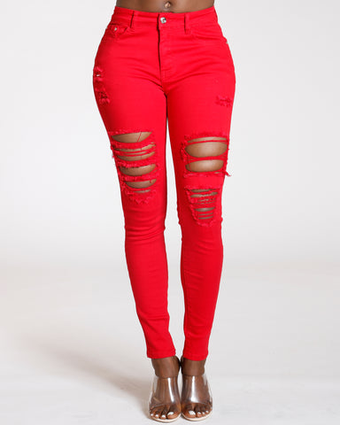 Red Ripped Front Jean
