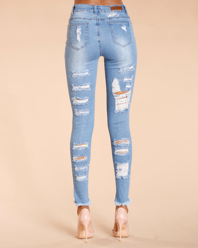 Heavy Rips Frey Bottom Jeans - Light Blue