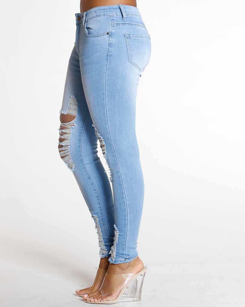 Light Blue Heavy Ripped Jean
