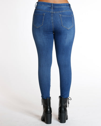 Dark Blue Heavy Ripped Jean