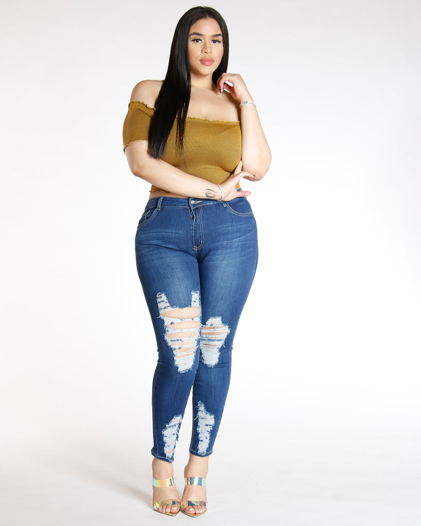VIM VIXEN Heavy Ripped Jean - Dark Blue - ShopVimVixen.com