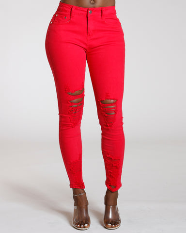 Red Heavy Ripped Jean