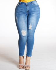VIM VIXEN Ripped Front Jean - Medium Denim - ShopVimVixen.com