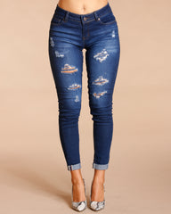 RIPPED JEANS - DARK BLUE