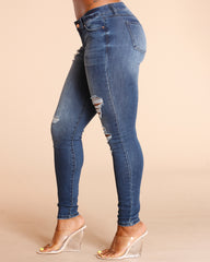 Dark Blue Sand Blast Ripped Jean