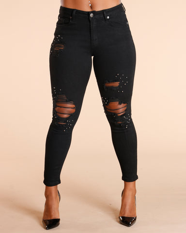 Black Ripped Pearl Jeans