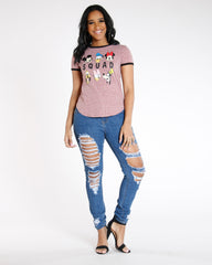 VIM VIXEN Leafy Distressed Mid Rise Skinny Jean - Medium Denim - ShopVimVixen.com