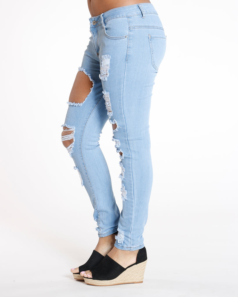 VIM VIXEN Noemi Distressed Mid Rise Skinny Jean - Light Blue - ShopVimVixen.com