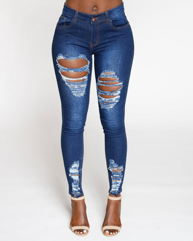 Ripped Mid Rise Skinny Jean