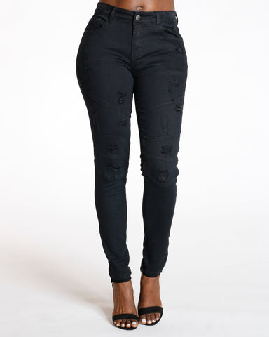 Black Ripped Knee Trim Skinny Jean