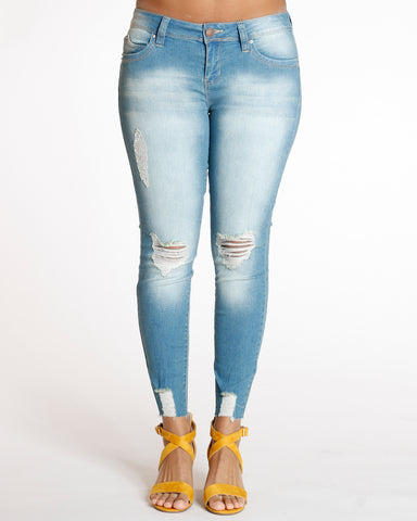 Vintage Ankle Rips Push Up Skinny Jean