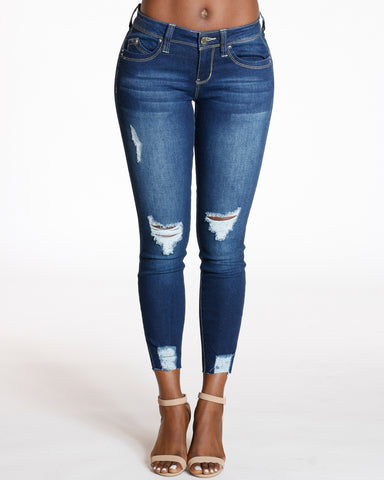 Dark Blue Ankle Rips Push Up Skinny Jean