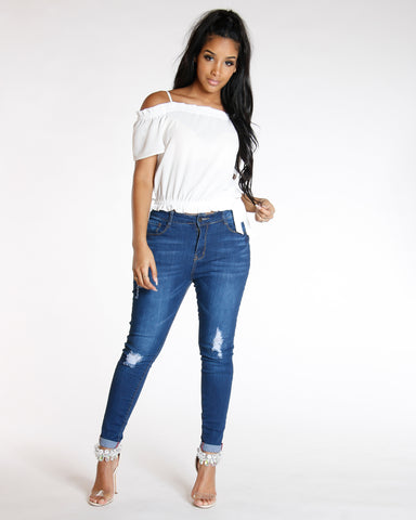 Rips Cuff Bottom Skinny Jean