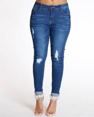 Rips Cuff Bottom Skinny Jean - Dark Blue