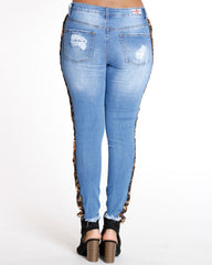 Side Cheetah Sequins & Rips Skinny Jean