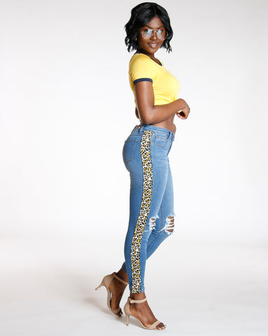 Side Cheetah Trim & Knee Rips Jean