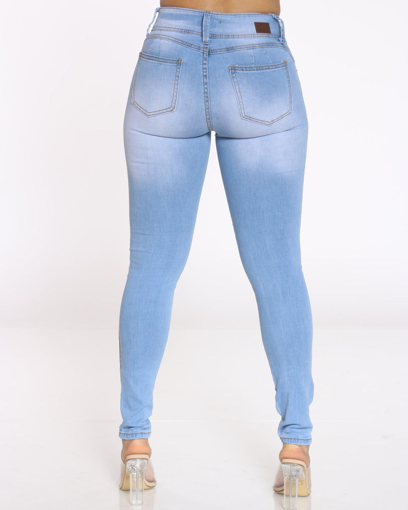 Jama 2 Button Ripped Jean - Light Blue
