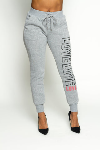 Love Front Lace Up Fleece Joggers  (Available in 4 colors)