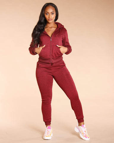 Burgundy Marbled Fleece Jogger