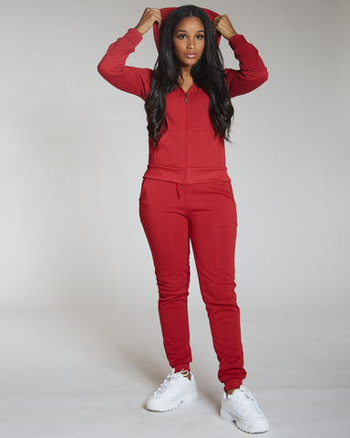 Red Marbled Fleece Jogger
