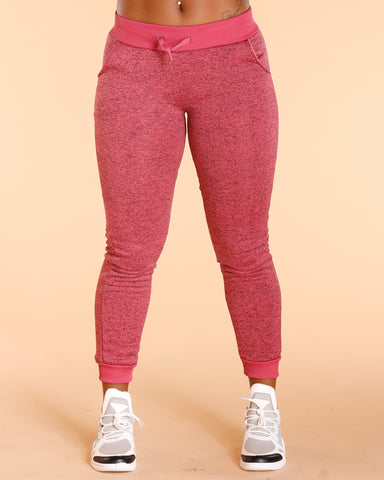 Pink Marbled Fleece Jogger